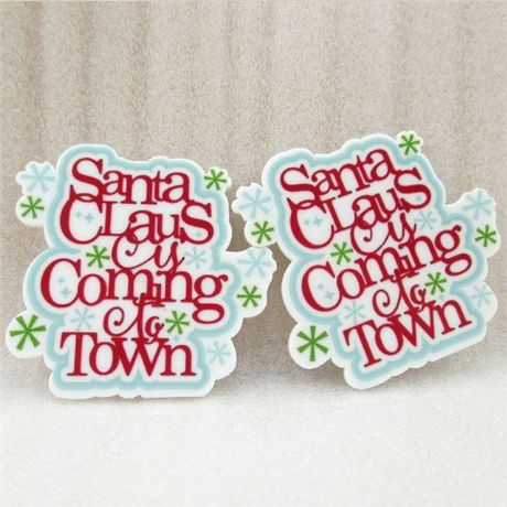 5 X 50MM SANTA CLAUS IS COMING TO TOWN XMAS CHRISTMAS LASER CUT FLAT BACK RESIN HEADBANDS HAIR BOWS